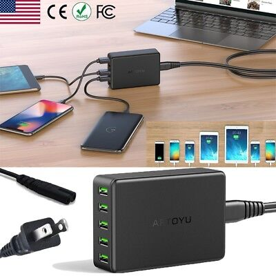 5-Port Fast Quick Charging Station USB Hub Wall Charger Power Adapter【10A 50W 】