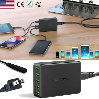 5-Port Smart Charging Station USB Hub Wall Charger Power Adapter【10A 50W 】