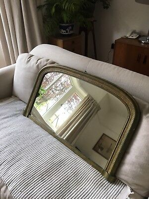 Large victorian antique overmantle gold mirror