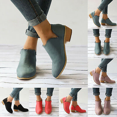 Womens Ankle Boots Lace Low Heel Chunky Mid Block Pumps Sandals Casual Shoes New