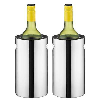 2PK Avanti Twin Stainless Steel Wine Champagne Cooler Chiller Indent Handles