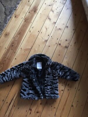 Girls 9 - 12 months grey and black faux fur jacket