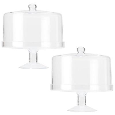 2PK Maxwell & Williams Diamante Glass Cake Stand Straight Dome 25cm Display