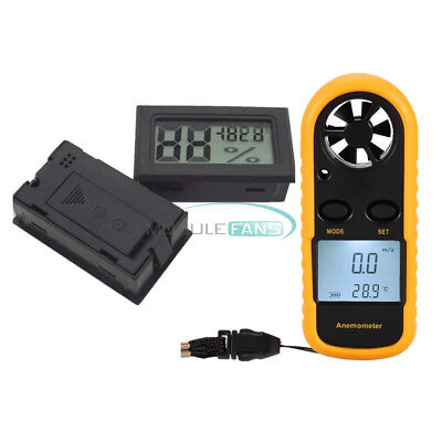 Mini LCD Wind Speed Gauge Air Velocity Meter Anemometer Digital NTC Thermometer