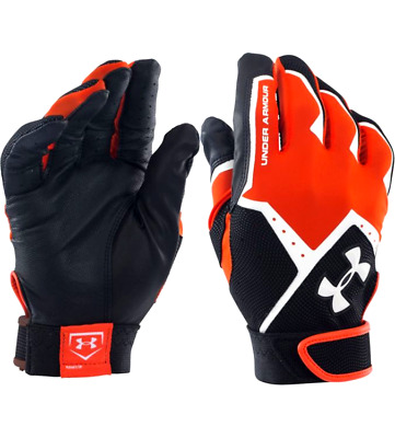 New Under Armour Clean Up Orange Black Professional Batting Gloves Adult Small