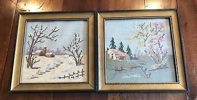 Pair Completed Needlepoint Petit Point Winter & Spring Scenes Wood Frames Glass
