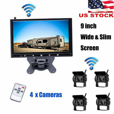 """9"""" Monitor + 4 X Wireless Rear View Backup Camera Night Vision For RV Truck Bus"""