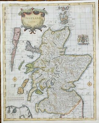 Striking Hand Colored Map of SCOTLAND - by Robert Morden in 1695