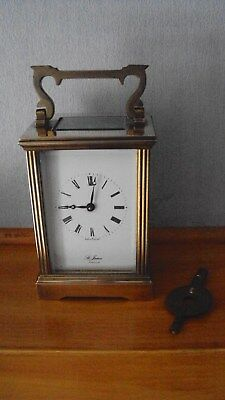 Vintage Brass St James London 8 Day Carriage Clock With Key - Working Order