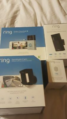 New! Ring Bundle Video Doorbell 2, Stick Up Cam, Spotlight Camera Battery, Chime