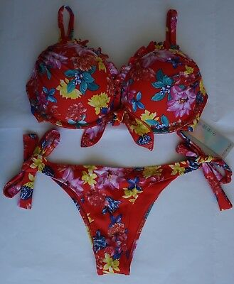 21a2956795 PRIMARK MAXIMISE YOUR ASSETS+2 CUP SIZES FAB RED SUMMER FLORAL BIKINI SET