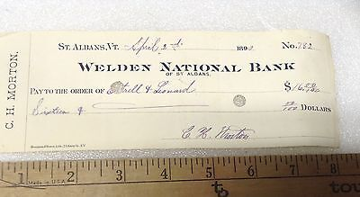 THE WELDEN NATIONAL BANK OF ST. ALBANS, VT ,1890 Cancelled Check , C.H. Morton