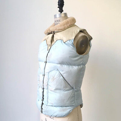 70s vintage Org Rocky mountain featherbed down vest : puffer leather cowboy 60s