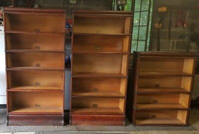 Antique lot of 3 Globe Wernicke D Grade 398 Barrister Mahogany Bookcases Pick Up