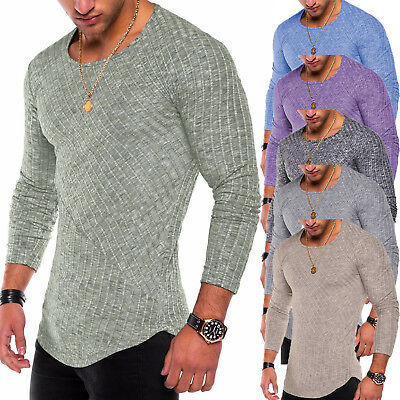Men Slim Fit O-neck Knitted Long Sleeve Muscle Shirt Stylish Tops Blouse Fashion