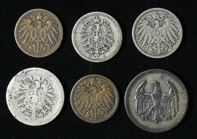 Lot of 6 Germany 1, 5, 10 Pfennig, 1 Silver Mark 1875-1924