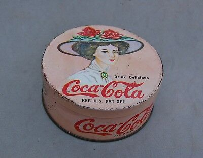 """Coca Cola Smoker's Candle Tin Box Vintage Victorian Woman Lady Hat Pink 3 1/2"""""""