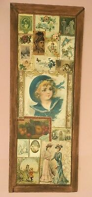 """42"""" Antique Vintage Victorian Trade Cards Advertising Lot in LG WOOD FRAME 1890s"""