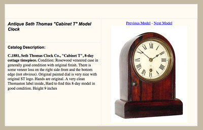 """Antique Seth Thomas hard to find """"Cabinet T"""" Model Clock"""