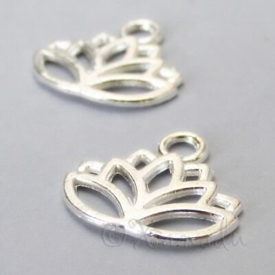 Lotus Flower 17mm Wholesale Silver Plated Charm Pendants C5771 - 10, 20 Or 50PCs