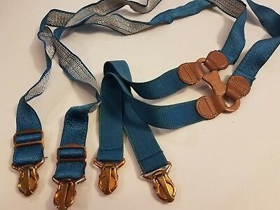"""Vintage Paris Leather Free-Swing Turquoise Suspenders Gold Clips 36"""""""
