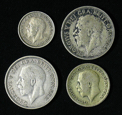 Lot of 4 Great Britain Silver Coins Three 3, Six 6 Pence, Shilling 1928-1932