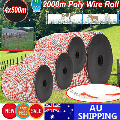 AU2000m Roll Polywire Electric Fence Fencing Stainless Steel Poly Wire Insulator