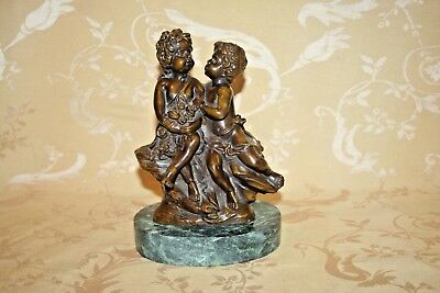 Antique Auguste Moreau Signed Bronze Sculpture Children w/ Roses on Marble Base