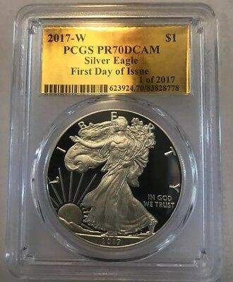 2017-W Pcgs Pr70Dcam Silver Eagle Fdoi American $1 Proof Coin Gold Foil Label