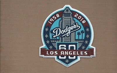 LOS ANGELES DODGERS 60TH ANNIVERSARY~3.5Inch IRON ON PATCH~FREE SHIPPING~
