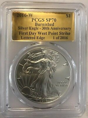 2016-W Pcgs Sp70 Silver Eagle Burnished American Gold Foil $1 Coin Fdwps Le