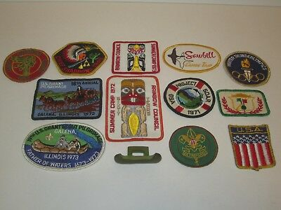 Vintage Mixed Lot of 12 Boy Scouts Patches 1950's-1970's + Neal Slide Canoe