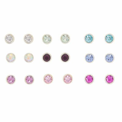 673bf81ea Claire's Girl's Crystal Stud Earrings - 9 Pack Multi-Coloured Rainbow