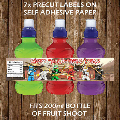 Personalised Lego Ninjago Fruit Shoot Bottle Labels Children Party Favours Gifts
