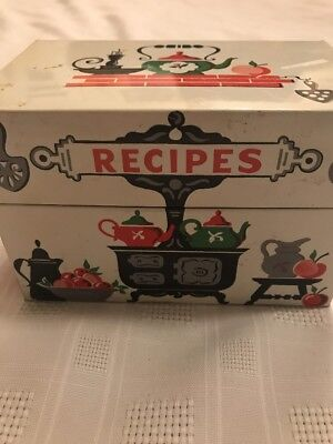Vintage Recipe Box +  Typed Church Recipe Cards Metal Stove