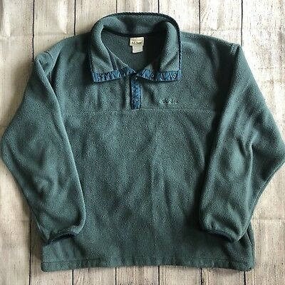 Vintage LL Bean Green Snap T Synchilla Pullover Fleece Sweater Mens Large