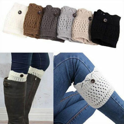 Womens Knitted Legs Warmers Boot Cuffs Toppers Socks Lace Button Winter Fashion