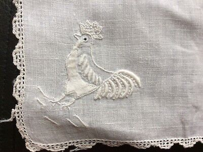 Antique fine linen handkerchiefs (Two) with hand embroidered rooster motif!