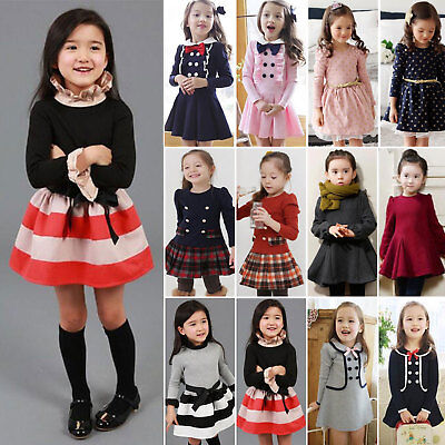 Toddler Baby Girls Winter Long Sleeve Princess Dress Party Skirt Clothes Outfit
