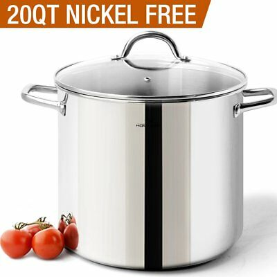 HOMi CHEf Commercial Grade Stainless Steel Stock Pot 20 Quart With Lid/Nickel