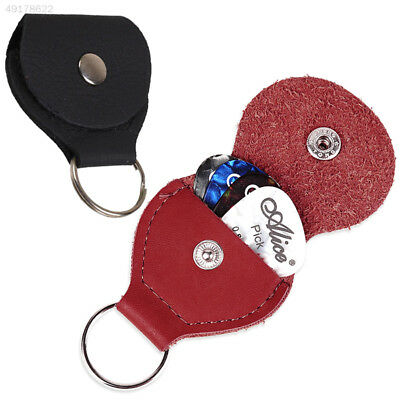 D294 Guitar Pick Plectrum Leather Keyring Holder Case Key Chain Storage Pouch