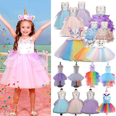 Floral Kids Girls Unicorn Bridesmaid Pageant Party Formal Princess Tutu Dress US