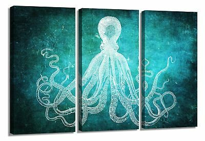 Modern Art Dark Green Octopus Canvas Art Picture Printed on Canvas Stretched and