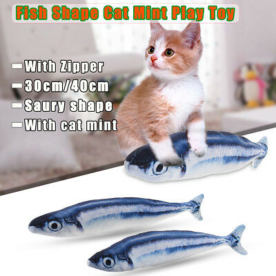 Kitten Cat Chewing Saury Fish Mint Velluto Catnip Interactive Scratch Toy Pla