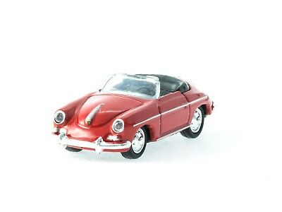 WELLY HO scale DIECAST ~ 'PORSCHE 356B' in red ~ FULLY ASSEMBLED 1/87 MODEL