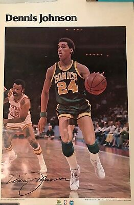 1977 NBA Dennis Johnson Seattle Super Sonics Poster Rare