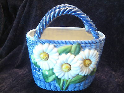 Beautiful Cobalt Ceramic Basket W' Double Handle - Handmade In Italy - Authentic