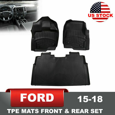 Molded Floor Mat for 15-18 Ford F150 3pcs Super Crew Cab w/Front Row Bucket Seat