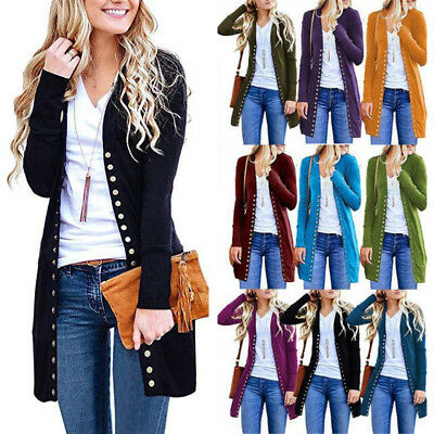 UK Women Autumn Winter Long Sleeve Casual Button Cardigan Ladies Coat Jacket