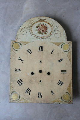 Antique Hand Painted Floral Grandfather Clock Face